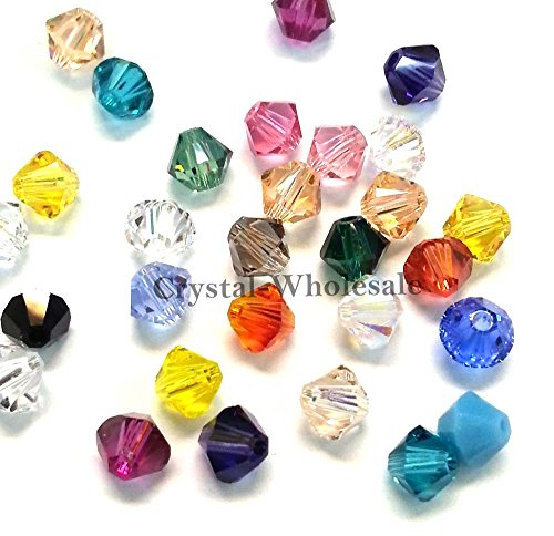 144 pcs 4mm Mix Color Genuine Swarovski crystal 5301 / 5328 XILION Loose Bicone Beads from Mychobos (Crystal-Wholesale) ()