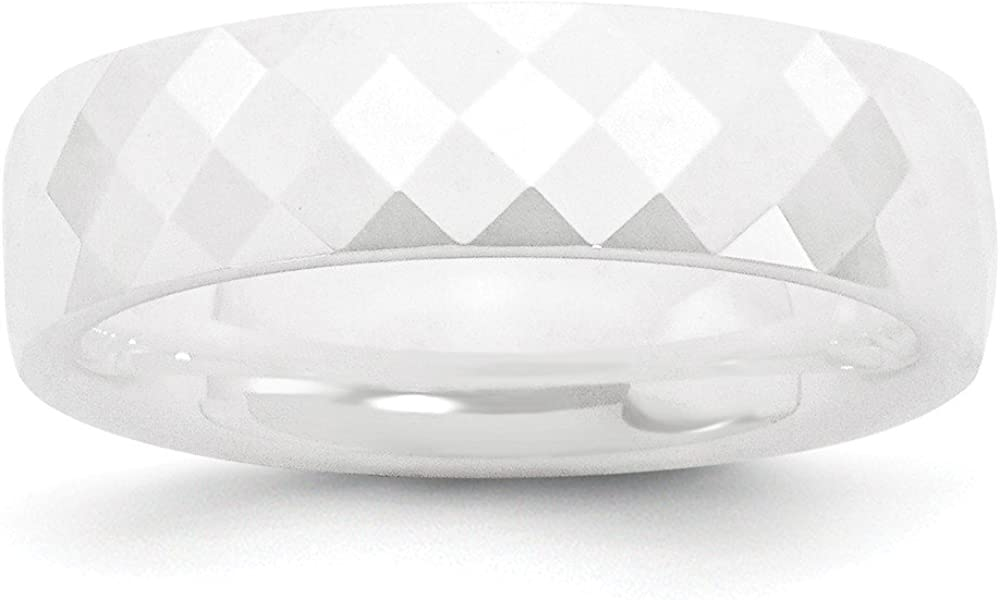 Top 10 Jewelry Gift Ceramic White 6mm Faceted Polished Band