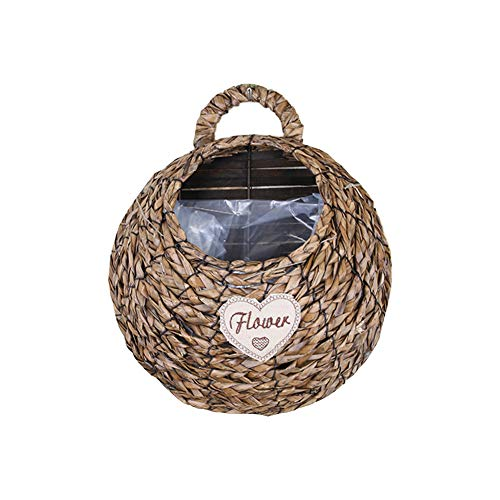 Cratone Rattan Flower Basket Storage Basket Hand-Knotted Wall Hanging Flower Pot with Handles Sitting Room Decoration 1Piece (Brown)