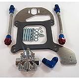 Braided Fuel Line Pressure Regulator Kit Dual Outlet - GM Throttle Carburetor
