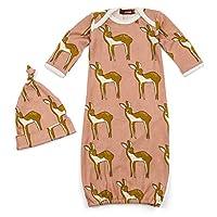 Milkbarn Newborn Gown and Hat Set (Rose Deer)