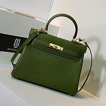 GUNAINDMX Sac à main taille sac femelle modèle Litchi modèle Messenger sac sauvage sac à main femme,Green Ash 28cm