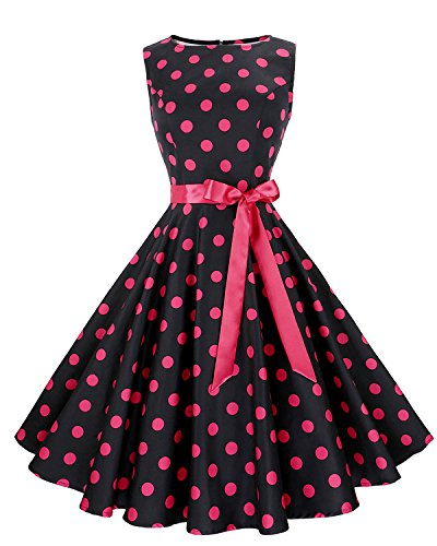 Anni Coco Women's 1950s Hepburn Vintage Swing Dresses With Ribbon Belt Black & Rose Red Polka Dots XX-Large