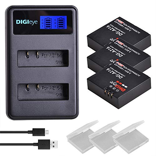 DIGIeye 3 x 1400mAh AZ16-1 Battery and LCD Dual USB Charger for Xiaomi YI AZ16-1 and Xiaomi Yi 4K,Yi 4K+,Yi Lite,YI 360 VR Action Camera
