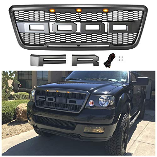 Seven Sparta Grill for F150 2004 2005 2006 2007 2008 Raptor Style Grill for Ford, Front Grill with Amber Lights and Letters (Gray)