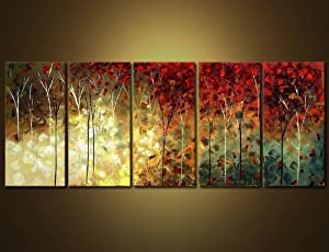 ... 100% Hand Painted Wood Framed 5 Piece Hot Sale Modern Colorful Garden  Leaves For Abstract Oil Paintings Gift Canvas Wall Art Paintings For Living  Room Part 27
