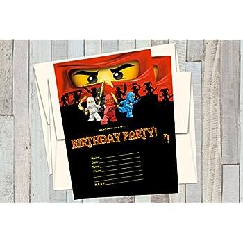 Amazon Com 12 Ninjago Birthday Invitations 12 5x7in Cards 12