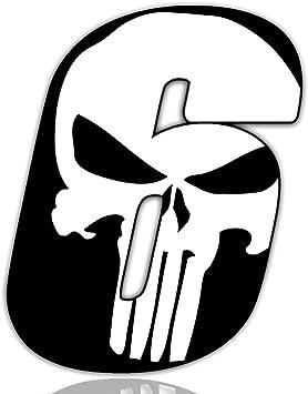 Biomar Labs Startnummer Nummern Auto Moto Vinyl Aufkleber Sticker Skull Schädel Punisher Weiß Motorrad Motocross Motorsport Racing Nummer Tuning 6 N 366 Auto