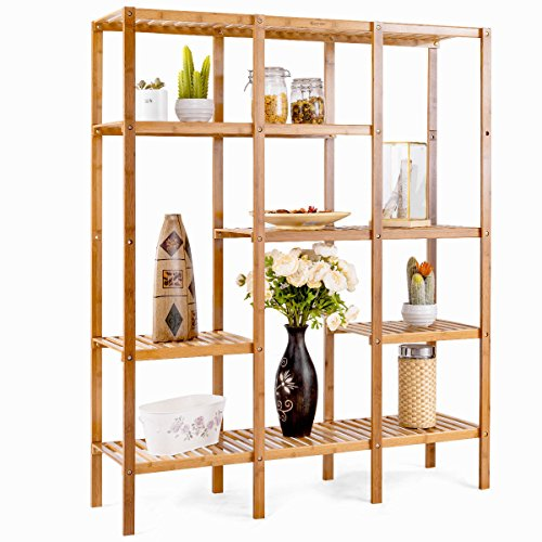 COSTWAY Multifunctional Bamboo Shelf Bathroom Rack Storage Organizer Rack Plant Display Stand W/Several Cell Closet Storage Cabinet (Bamboo Bathroom Cabinets)