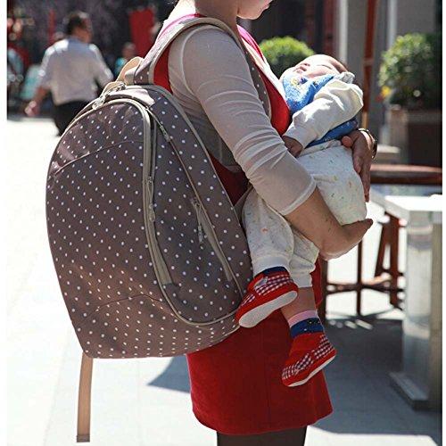 Multifunción Gran Capacidad del bebé pañales Nappy Bolsa Momia mochila azul oscuro Talla:32cm x 45cm x 21cm caqui