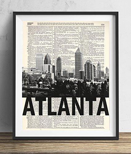 Bold Art - Atlanta Skyline With Bold Name Dictionary Art Print 8x10