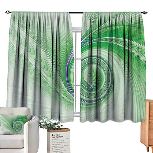 Warm Family Spires Country Curtain A Curve Winds Around Fixed Motif Continuously Increasing Spirals Computer Figure Print Green Wall Curtain W55 x ()