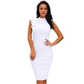 JUWOJIA Blanco Negro OL Elegante Mujer Vestidos Bodycon Un Lado Tiered Volante Lindo Verano Nuevo Sin