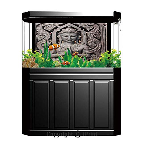 (Terrarium Fish Tank Background,Asian Decor,Antique Sculpture in Traditional Thai Art with Swirling Floral Patterns Carving Japanese Decor,Bronze,Photography Backdrop for Pictures Party Decoration,W48.)
