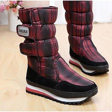 Botas de la mujer Confort Casual Primavera sintético rojo plana en blanco y negro Ruby