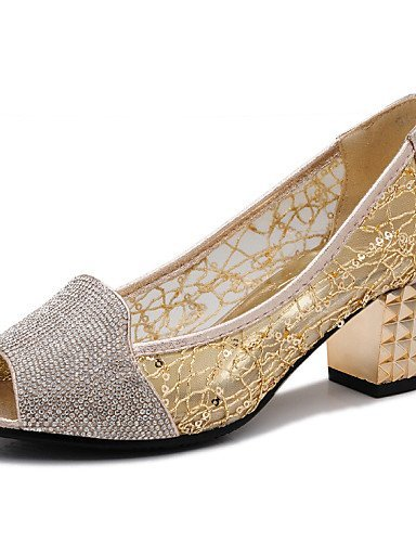ShangYi Women's Shoes Synthetic Low Heel Heels/Comfort Sandals Office & Career/Party & Evening/Dress/Casual Black/Silver/Gold golden bBqFQn