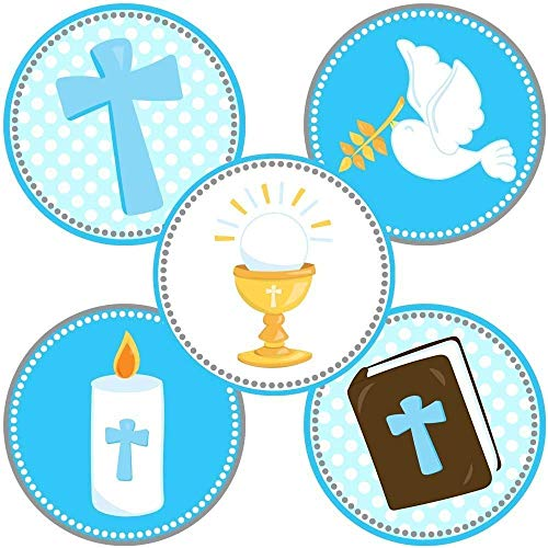 - Boy First Holy Communion Party Favor Stickers in Blue - Christening Baptism Labels - Set of 50