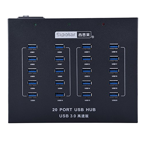 20 Port USB 3.0 Hub Support Data Sync+Charging With 110V/220V 5V 20A Power Supply by Sipolar (Image #1)