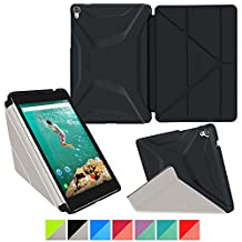 Google Nexus 9 Case, rooCASE Origami 3D Slim Fit Thin Lightweight Folding Leather PU Folio Cover Stand Black Gray