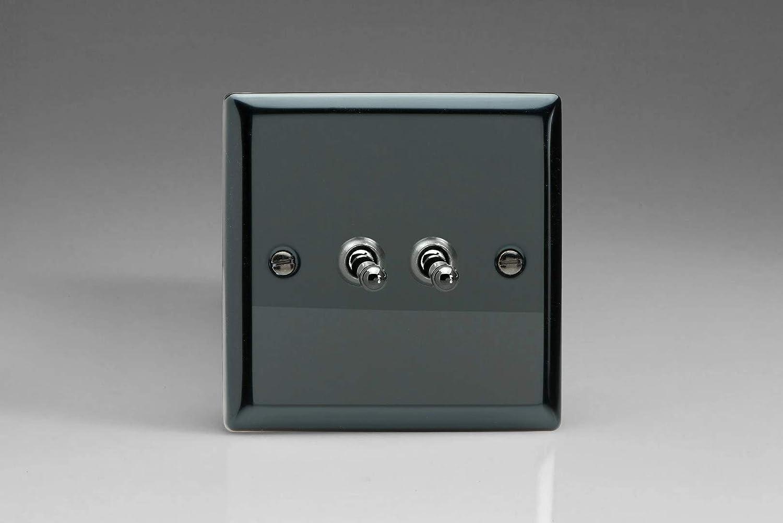 Varilight XIT2 Interrupteur /à bascule 2 Gang Iridium Noir