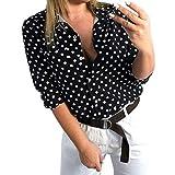 Psunrise Arriba Women Summer Half Sleeve Dot Print Casual Button Down Pocket Blouse Tee Shirt Top(L, Black)