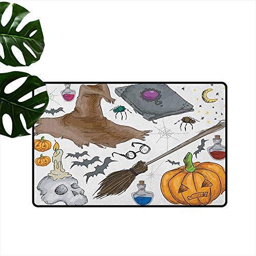 LilyDecorH Halloween,Floor mat Magic Spells Witch Craft Objects Doodle Style Illustration Grunge Design Skull 20