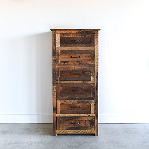 Maple Tall Chest - Tall Wood Dresser/6-Drawer Reclaimed Wood Dresser