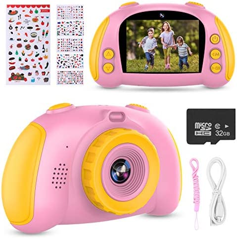 ITSHINY Kids Digital Camera, Kids HD Camera [ 32GB SD Card ] with 12.0 Mega Pixels & 1080P Birthday Toy Gifts for Age 3-12 Boys Girls -Pink
