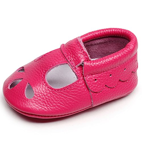 HONGTEYA Baby Girls Shoes Soft Sole T-Strap Leather Baby Moccasins Crib Infant Toddler Shoes (12cm/6-12months, Hot (Baby Pink Leather)