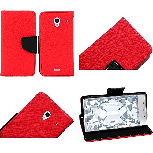 Chili Red Flip Premium Case Cover Protector Credit Card Holder Wallet with Magnetic Closure for Sharp Aquos Crystal (by Boost Mobile , Virgin Mobile , Sprint) with Free Gift Reliable Accessory Pen (Aquos Boost Mobile)