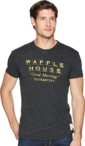 Original Retro Brand The Men's Short Sleeve Vintage Tri-Blend Waffle House Tee Streaky Black Small