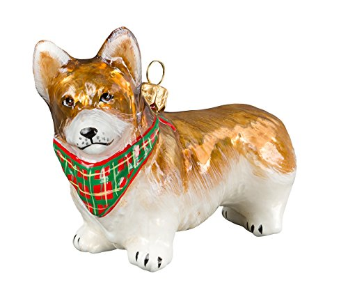 Pembroke Welsh Corgi Standing Dog with Bandana Polish Glass Christmas Ornament ()