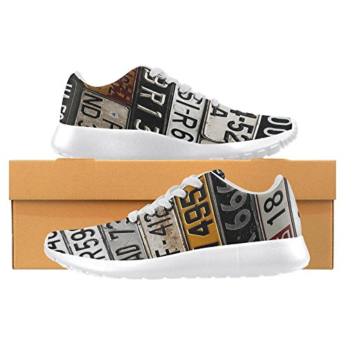 InterestPrint Women's Jogging Running Sneaker Lightweight Go Easy Walking Casual Comfort Sports Running Shoes Size 10 Various Old Car License Plates by InterestPrint (Image #5)