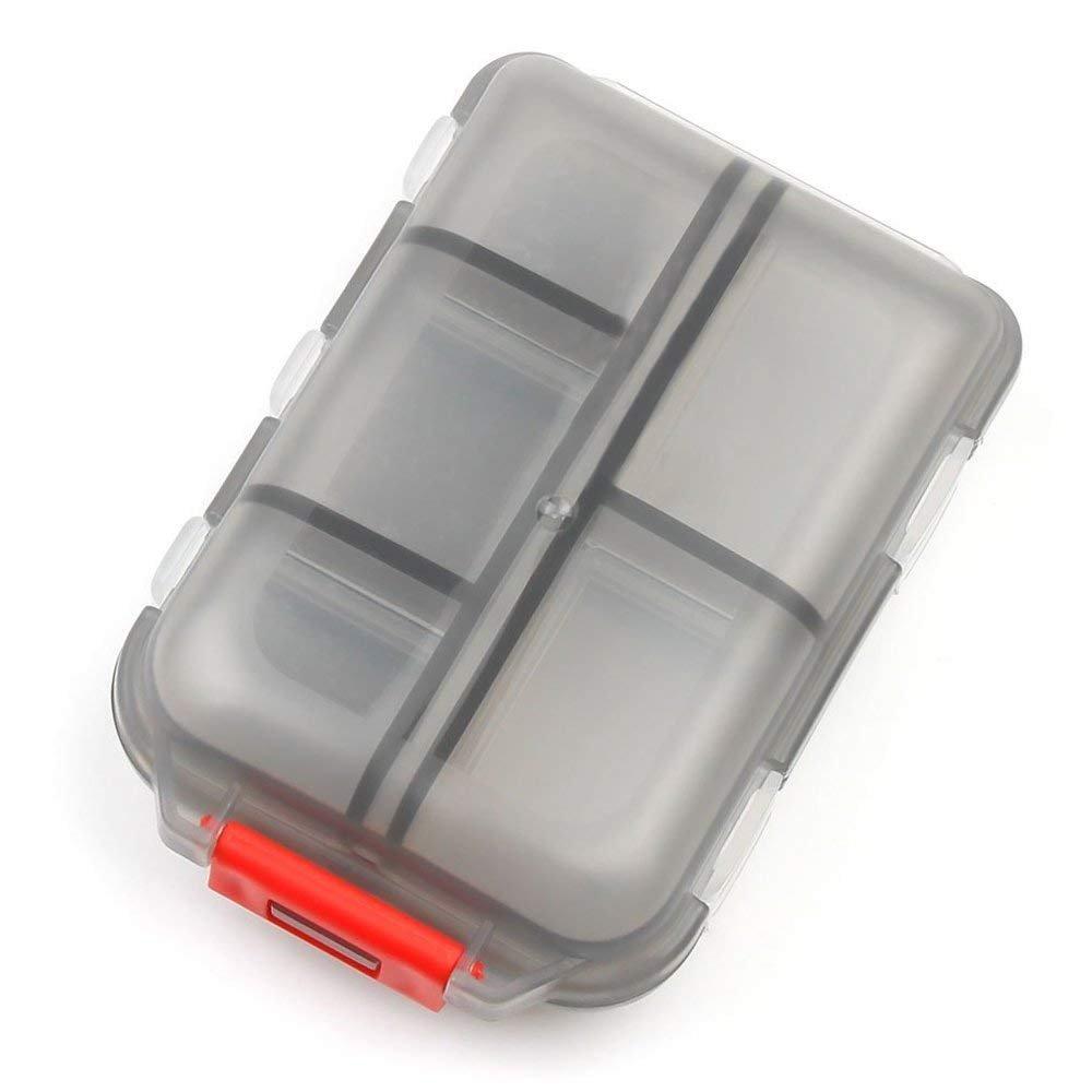 GOTITENI Pill Case, Travel Portable Pill Organizer Box for Vitamins, Supplements and Tablet Medicine Storage, 10 Compartments, Black by GOTITENI