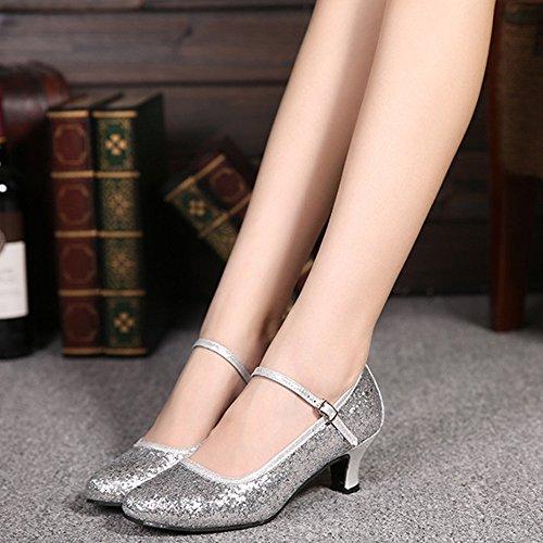 XFentech Glitter Women's Sequins Ballroom Latin Silver Dance Toe Round Shoes RravqnRE
