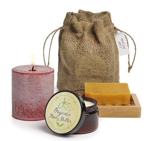 4 Spa Piece Collection Home (Jensan 4-piece Pillar Candle and Organic Bath and Body Gift Bag Set (Herbal))