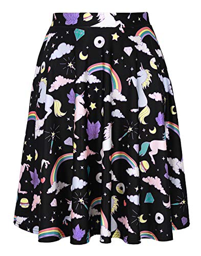 Unicorn Skirt for Women Unicorns and Rainbows Midi Skirt]()