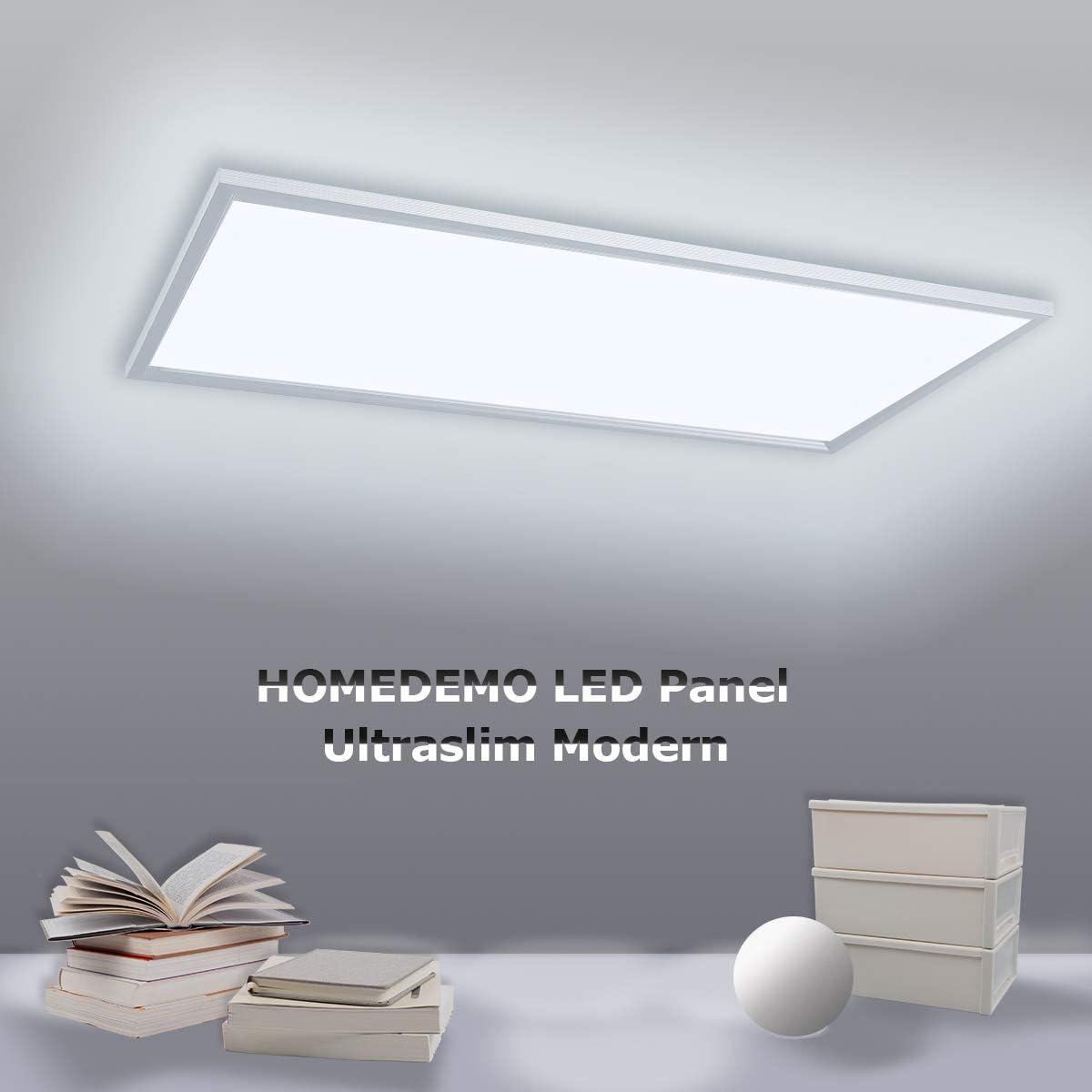 HOMEDEMO LED Panel Deckenleuchte 62x62cm Ultraslim Modern 40W Warmwei/ß 3000K Deckenlampe f/ür B/üro und Werkstatt Led Lampe mit Befestigungsmaterial und Trafo Silberrahmen