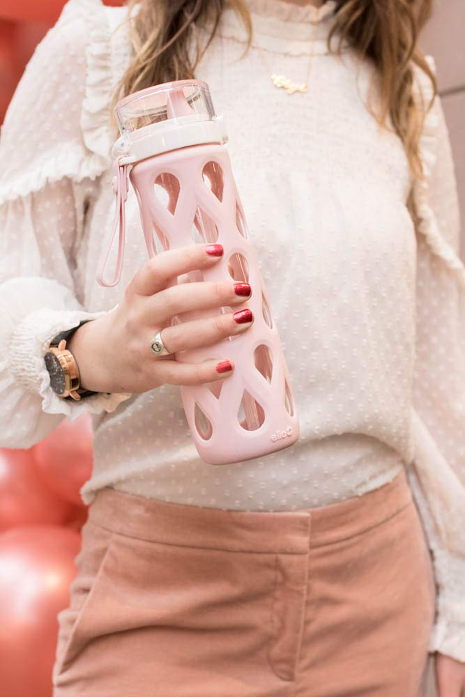 Pink Ello Gemma Glass Water Bottle with One-Touch Flip Lid 22 oz