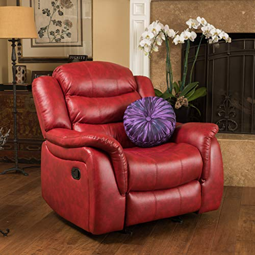 Christopher Knight Home 296450 Merit Contemporary Glider Recliner Chair, Red Leather (Red Leather Contemporary Chair)