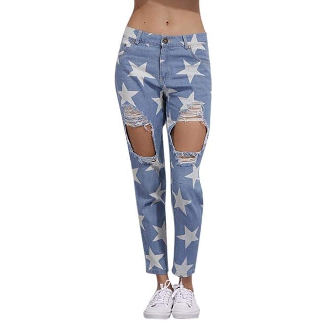 Pantalones Mujer, ASHOP Agujero Roto Rodilla Impresión ...