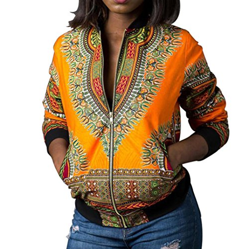 iTLOTL Women Dashiki Long Sleeve Fashion African Print Dashiki Short Casual Jacket(US:6/CN:S, Yellow ) -