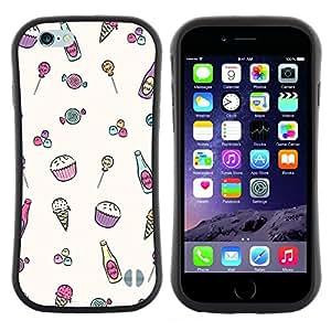 """Hypernova Slim Fit Dual Barniz Protector Caso Case Funda Para Apple (5.5 inches!!!) iPhone 6 Plus / 6S Plus ( 5.5 ) [Helado minimalista magdalena feliz Patrón""""]"""