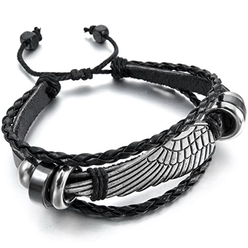 Naivo Genuine Leather Bracelet Bangle Black Silver Tone Angel Wing Surfer Wrap Tribal (Silver Surfer Costume)