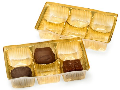 Pack Of 200, 4.5 X 2.75 X 1'' Small Rectangle Solid Gold Candy Trays W/6 Sections