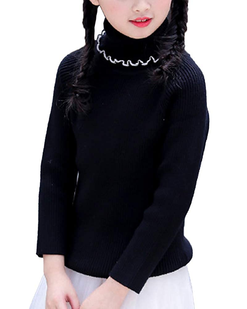 WDREAM Turtleneck Sweater Girls Warm Knit Sweater Christmas Jumper Pullover