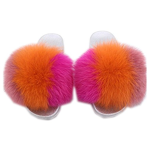 Wide Stitching Real Fur Width Slides Sole Fox h Slippers Fur qmfurWomen Multicolor Silver Comfortable Women qSwyZCIZW