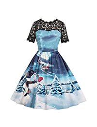 HEFEITONG Women Xmas Christmas Lace Short Sleeve Evening Party Dress Swing Dress