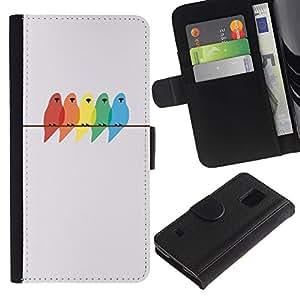 iBinBang / Flip Funda de Cuero Case Cover - Pintura Abedul minimalista - Samsung Galaxy S5 V SM-G900