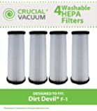 4 Dirt Devil F1 HEPA Filters; Long-Life WASHABLE, REUSABLE and HEPA Filtration, Compare With Dirt Devil Part # 3-JC0280-000, 2-JC0280-000 (3JC0280000, 2JC0280000)